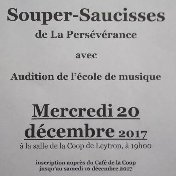 Souper saucisses et audition de l'Ecole de musique 2017